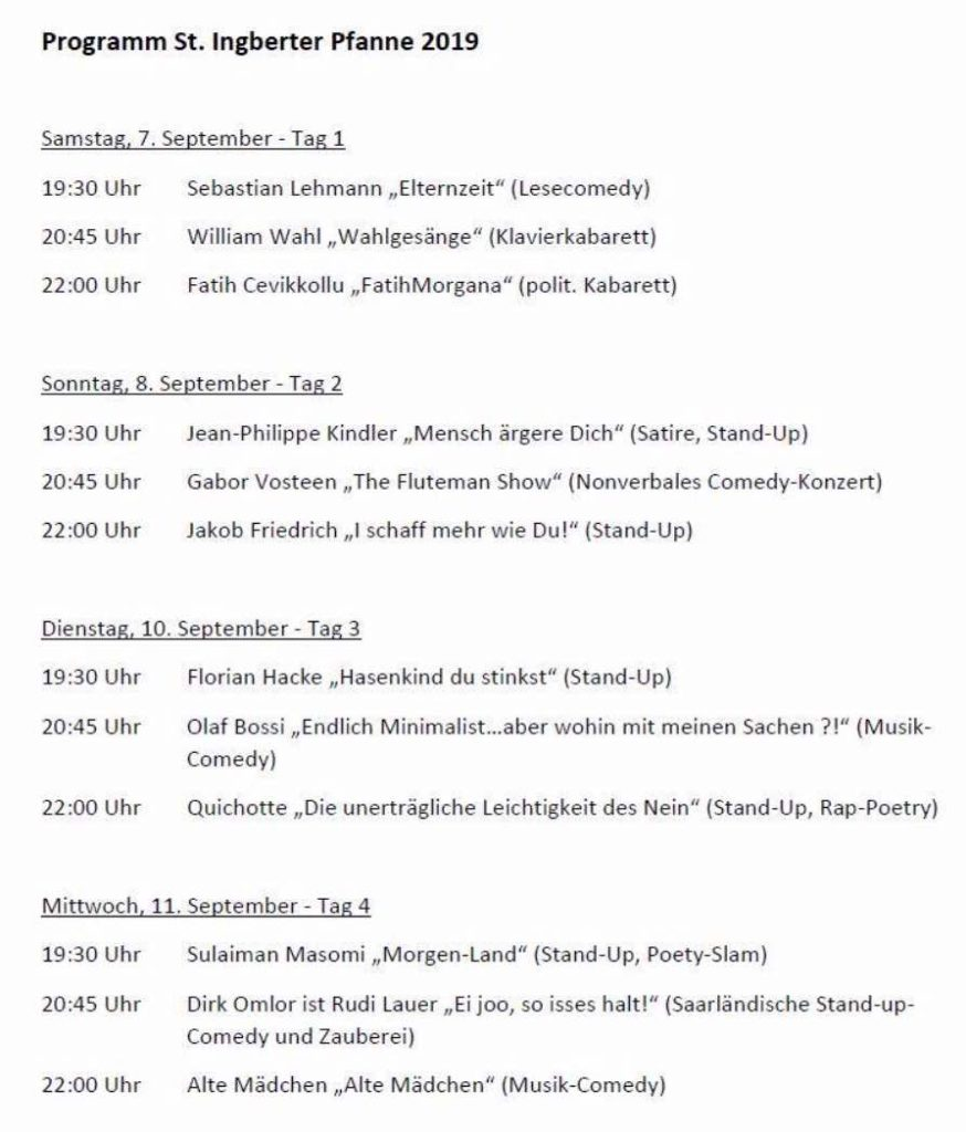 Programm St. Ingberter Pfanne 2019